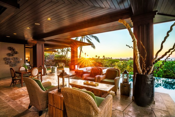 Beautiful Inlaid Honed Teak Floors And Bamboo Ceilings A Common Element Of Hawaii Homes That Enhance The Feeling Relaxation In This Leisure Hawaiian